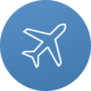 Flugzeug_Icon_blauer Hintergrund